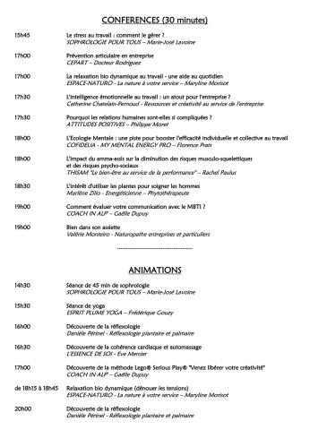 Salon du bien-etre au travail - programme d es conférences et ateliers - 18.06.2019